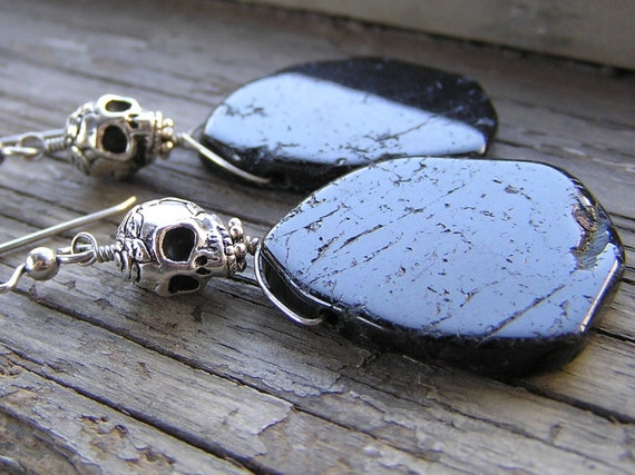 Samhain- Sterling Silver Skulls and Natural Black Tourmaline
