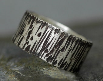 Oxidized Birch Bark Textured Sterling Silver Band- 3/8 Inch Custom