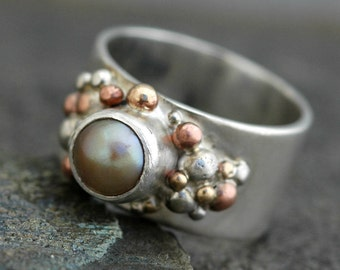 Freshwater Pearl in Sterling Silver Ring- Custom Made