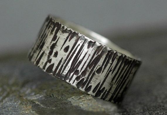 Oxidized Birch Bark Textured Sterling Silver Band- 3/8 Inch Custom