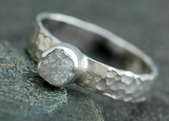 Rough Diamond Ring in Hammered Sterling Silver