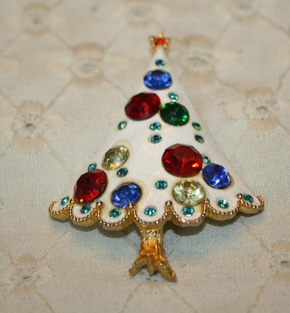 White Enamel and Rhinestone Christmas Tree Pin