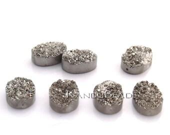 Oval Druzy geode Quartz bead, Silver Color Titanium Coated, 18x25mm BIG (ONE BEAD)