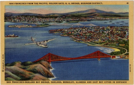 Vintage California Postcard - San Francisco from the Pacific (Unused)