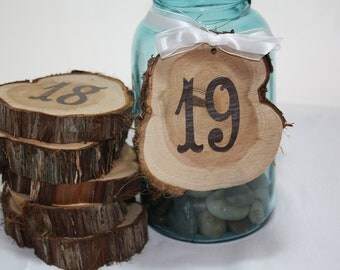 Wedding Table Numbers, Hanging, rustic cedar circles, set of 25, natural unfinished cedar wood for rustic woodland barn weddings