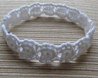 Knitting Pattern #69 White Cotton Lacy Headband with Pearls for a Baby Girl 3-6 months, 6-12 months