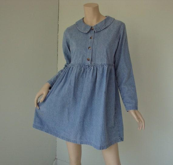 Denim Mini Dress- Empire Waist- 1990's Grunge