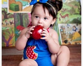 Princess Collection: Snow White Inspired Ruffle Bubble Romper Sunsuit  Newborn - 4T even DOLL SIZES