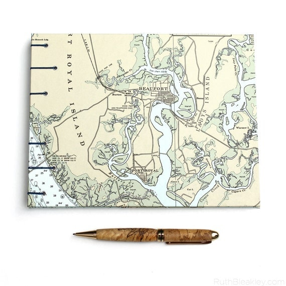 Beaufort Nautical Guestbook - Handmade Using Vintage South Carolina Chart