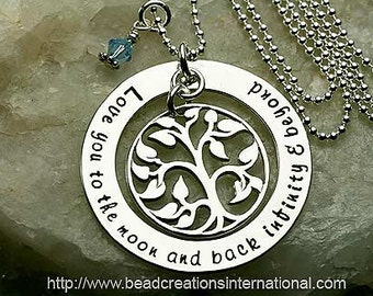 Love You To The Moon and Back Infinity & Beyond w/ Our Family Tree Hand Stamped Necklace