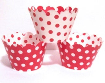 12 Red Reversable Polka Dot Cupcake Wrappers