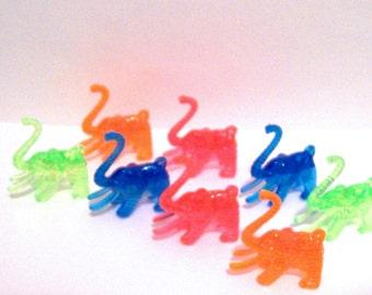 12 Colorful Plastic Elephant Charms