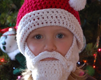 Santa Beard Beanie Can Customize Size 5-9 Year Old Size