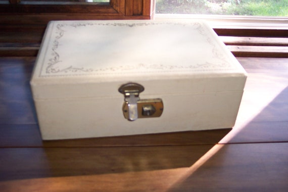 Jewelry Box With Key Ivory Chest Maroon Lined
