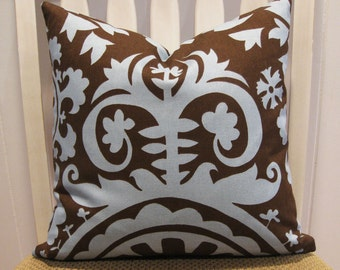 "Decorative Pillow Cover, One 18"" x 18"", ""Suzani""  in Chocolate Brown and Village Blue"