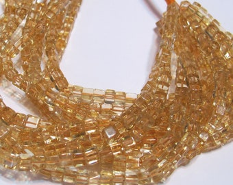 """Citrine great quality stones cube shaped beads 7"""" strand 3D box square"""