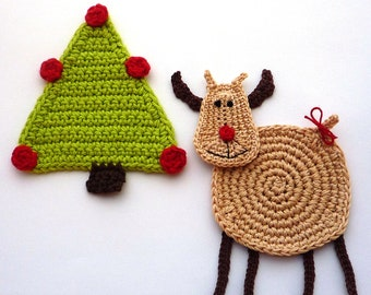 Reindeer Coaster - Christmas Coaster - Deer Coaster - Animal Coasters - Christmas Decor - Table Decor - Crochet Coaster - Gift for Sister