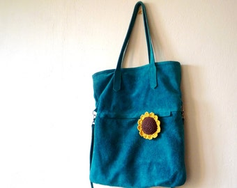 Crochet sunflower brooch