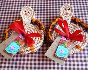 Thanksgiving Table Decor - Crochet Coasters - Drink Coasters - Autumn Kitchen Decor - Turkey Coasters - set of 4 - Bird Coasters