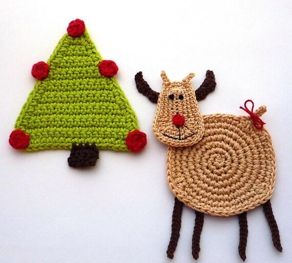 Moose Christmas Decor - Christmas Reindeer Drink Coasters - Animal Coasters - Christmas Table Decor - Crochet Coasters - Gift for Girlfriend
