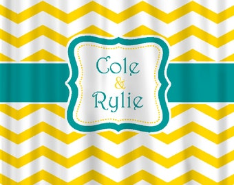 Custom Personalized Chevron Shower Curtain - your colors