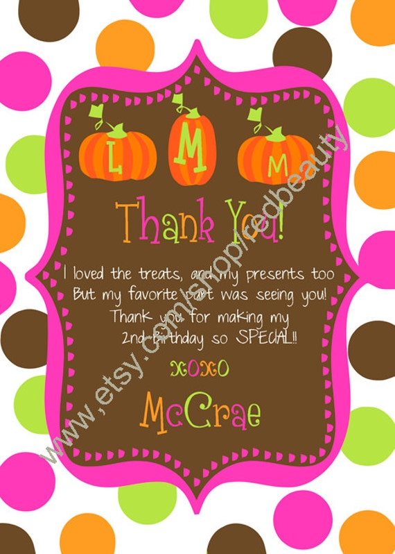 Our Little Pumpkin Birthday Thank You  for Girls with Monogrammed Pumpkins