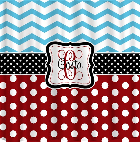 Personalized Shower Curtain Blue Chevron-Red Polka Dots Blk
