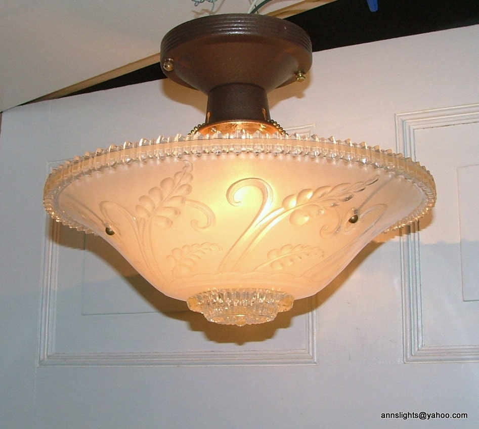 Vintage Glass Pendant Hanging Ceiling Light Lamp Shade Antique