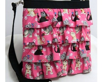 Hip Bag Purse Ruffle Adjustable Crossbody Cats on Pink and Black