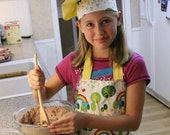 "Handmade ""Little Miss Sunshine"" Chef Set with Apron and Hat -FREE SHIPPING"