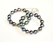 Black Pearl Hoop Earrings - Elegant Classic Deep Dark Pearls and Modern Sterling Silver Hoops by Mei Faith