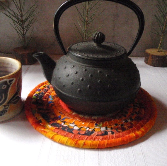 Bohemian Coiled Orange Table Mat or Trivet - Small Round