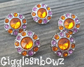 Sale Rhinestone Buttons- 5 Pc Orange and Hot Pink TWO TONE Acrylic Rhinestone Buttons 18mm Flower Centers, Diy Headband and Hairbow Supplies
