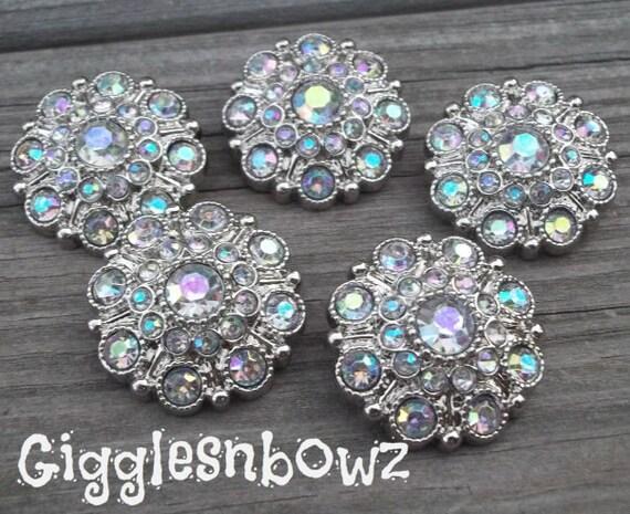 5 Rhinestone Buttons- AB Iridescent Acrylic Rhinestone Buttons 28mm- Headband Supplies- Diy Supplies- Wedding Button- Bridal Accessory