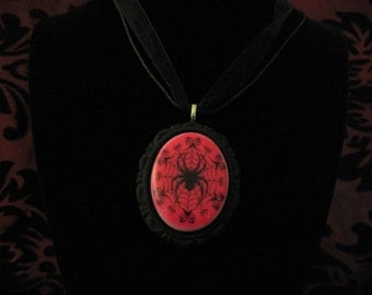 Hot pink spiderweb cameo necklace