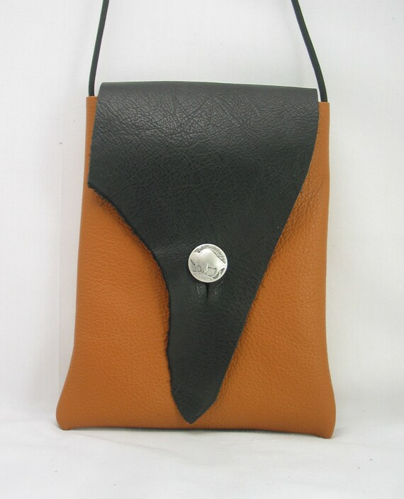 Leather Shoulder Bag-Black Leather, Rusty Orange Leather with Buffalo Nickel Button