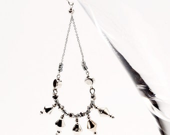 Dangling Earrings with Silver Spikes and Chain on Sterling Silver French Ear Wire