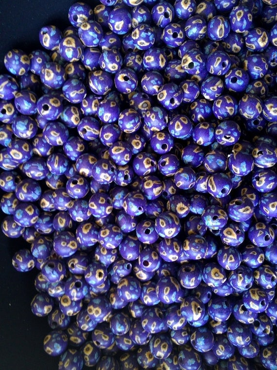 DE-STASH / Beading Supplies - Fimo Polymer Clay 9mm Round Beads w/ 1.5mm Holes (Purple, Yellow & Blue Flowers) Wholesale Bulk Loose Beads