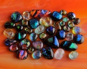 40 LOT Handmade Dichroic Fused Glass Cabs Cabochons Beads