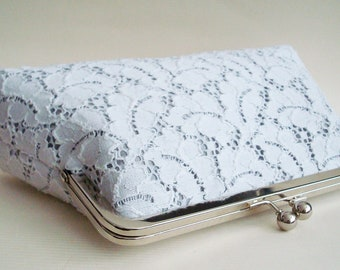 SALE Bridal Wedding Purse Ivory Leaves Lace Silver Charcoal Dupioni Silk Large Size Clutch Ready to Ship