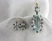 Circa Mid-Victorian Aquamarine and Rose Cut Diamond Pendant and Earring Set