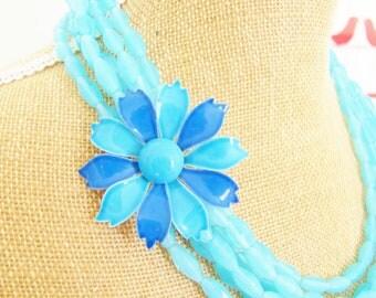 SALE 50% Off Aqua Flower Statement Necklace - Aqua and Cobalt Enamel Flower Multi Strand Aqua Blue Jade Beaded Asymmetrical Necklace OOAK