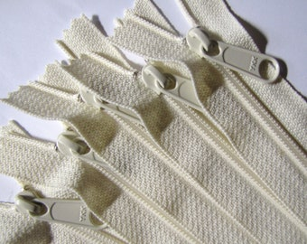 SALE - Ten vanilla 12 inch YKK Hand bag zippers with extra long pull - YKK vanilla color 121
