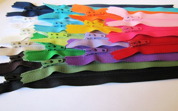 7 Inch YKK zippers - 17 zippers - neutrals, navy, olive, green, aqua, turquoise, purple, sunflower, red, pink