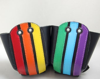 Leather Toe Guards with Rainbow Stripes