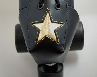 DA-45 Leather Skate Toe Guards with Gold Stars Or Choose Your Own Color!