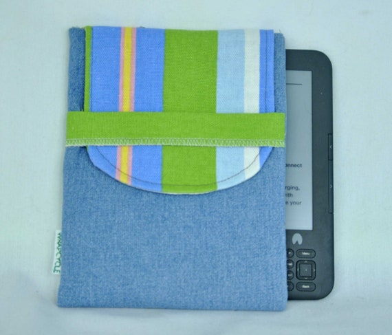 50% OFF and Free Shipping Eco Padded Nook Kindle eReader Sleeve in Blue Denim with Stripes