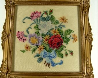 Vintage Petit Point, Framed Floral Needlepoint, Floral Canvas Petit Point, Beautiful Floral Handwork