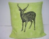 Sika Deer Print Cushion Cover on Organic Cotton