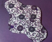 Mama Cloth Reusable Sanitary Pad Menstrual Pad with PUL liner purple floral filigree on white - size SMALL to MEDIUM